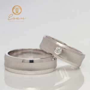 Verighete din aur alb cu diamant ESV118