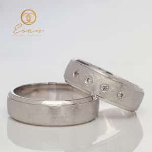 Verighete din aur alb cu diamante ESV119