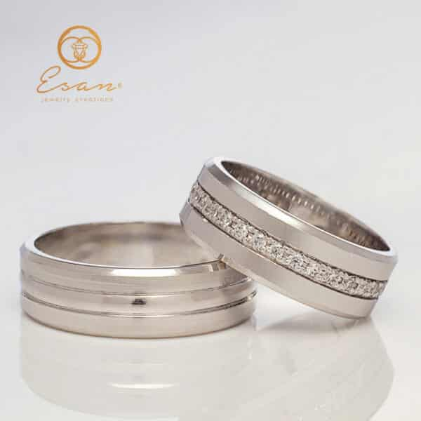 Verighete din aur alb cu diamante ESV120