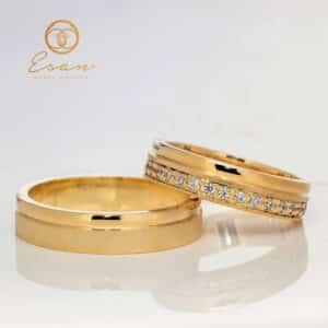 Verighete din aur galben cu diamante ESV121