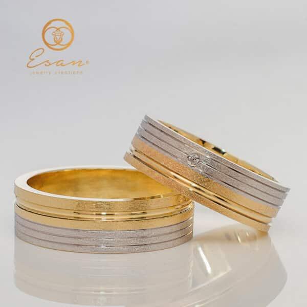 Verighete din aur galben si alb cu diamant ESV124