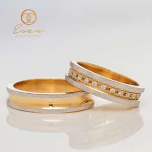 Verighete din aur galben si alb cu diamante ESV125