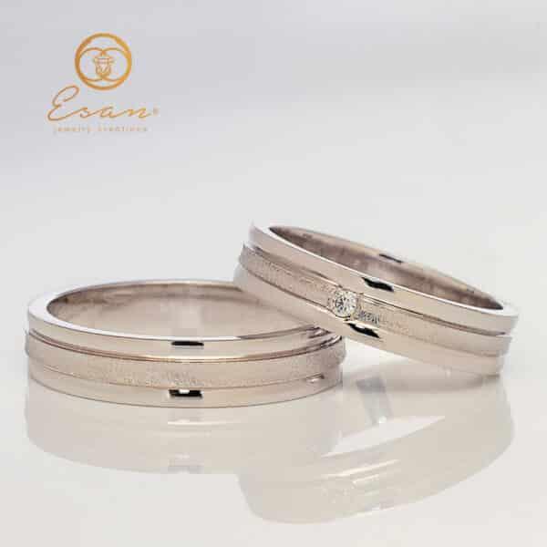 Verighete din aur alb cu diamant ESV126
