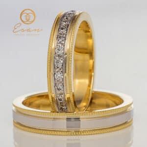 din aur alb si galben cu diamante ESV127