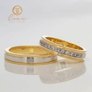 Verighete din aur alb si galben cu diamante ESV127
