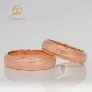 Verighete din aur roz cu diamant ESV128