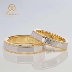 Verighete din aur galben cu diamant