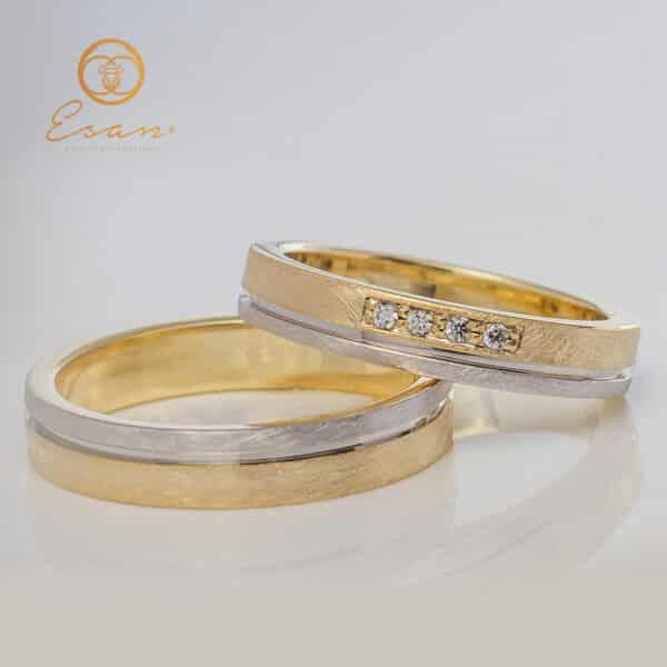 Verighete din aur galben cu diamante