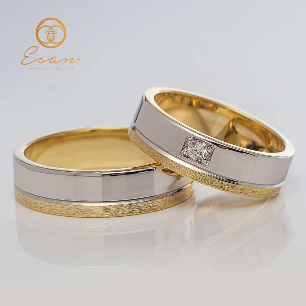 Verighete Din Aur Cu Diamante Esv42 Verighete Din Aur Esan
