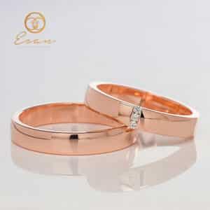 Verighete din aur roz cu diamante