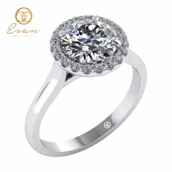 Inel de logodna din aur alb cu diamant rotund si diamante ES151