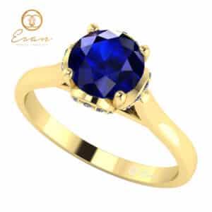 Inel de logodna din aur cu safir si diamante ES152