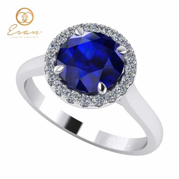 Inel de logodna din aur cu safir si diamante ES151