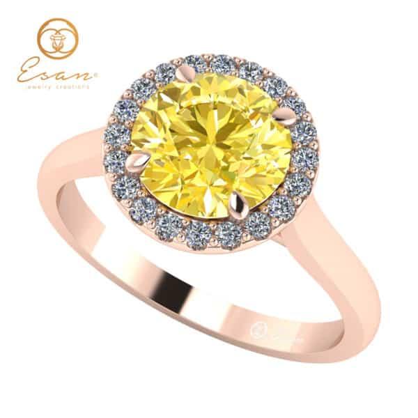 Inel din aur roz cu diamant galben si diamante ES151