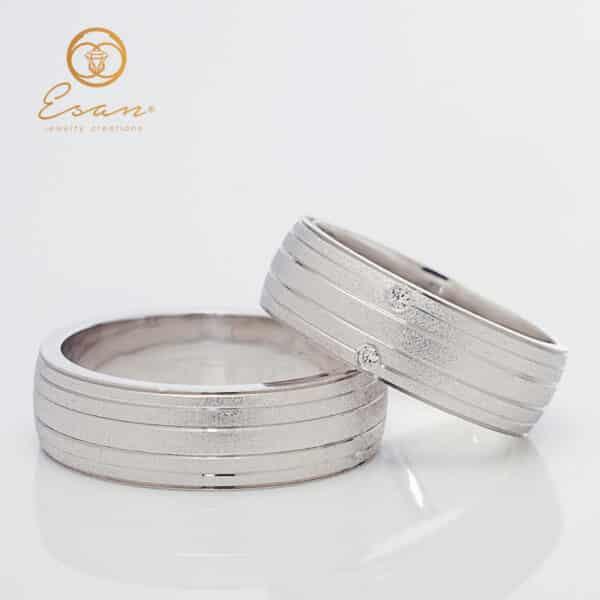 Verighete din aur alb 18k cu diamante ESV146