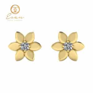 Cercei din aur galben cu diamant