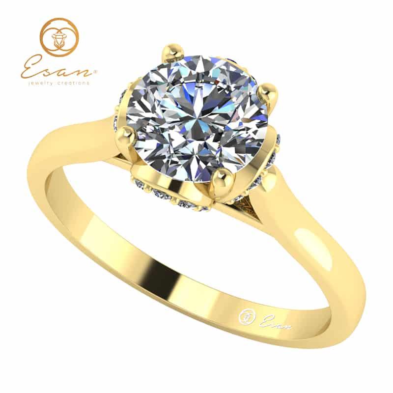 de logodna din aur cu diamant si diamante ES152