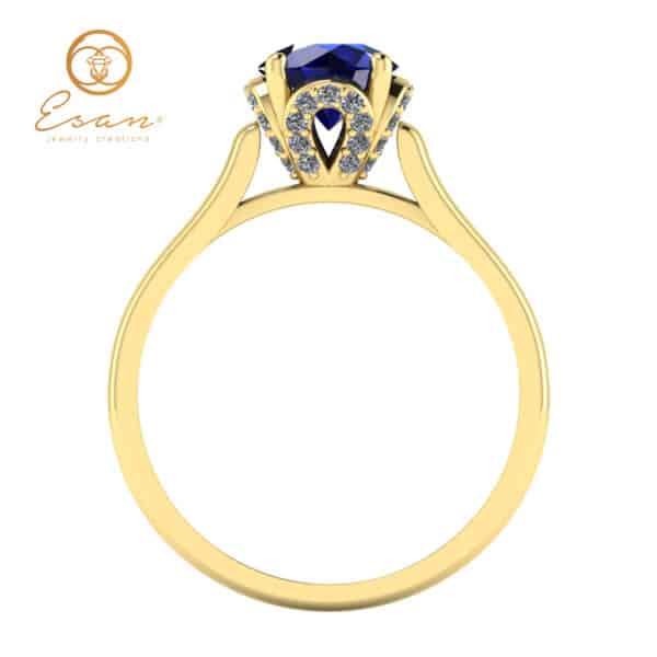 din aur 14k cu safir si diamante ES152
