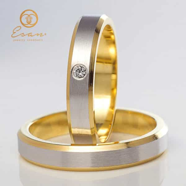 din aur alb si galben cu diamant de 2mm ES151
