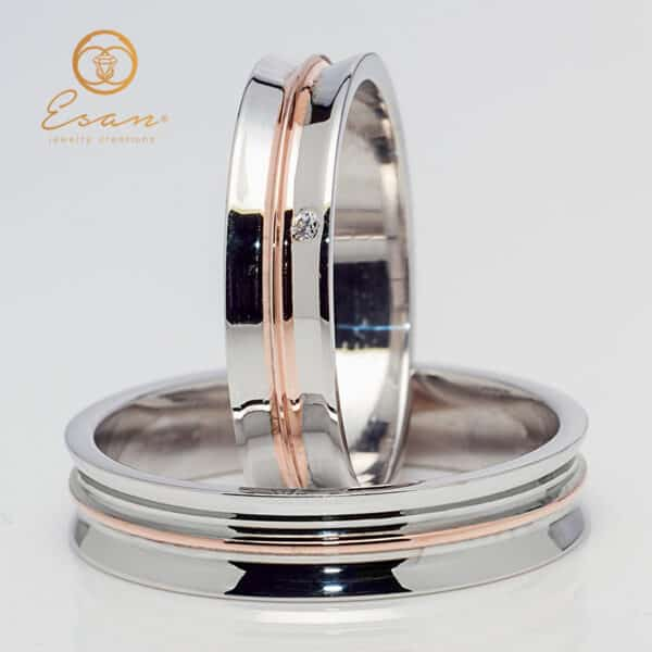 din aur alb si roz cu diamant ESV147