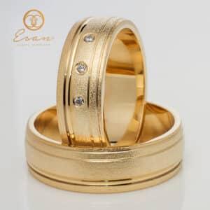 din aur galben cu 3 diamante ES149