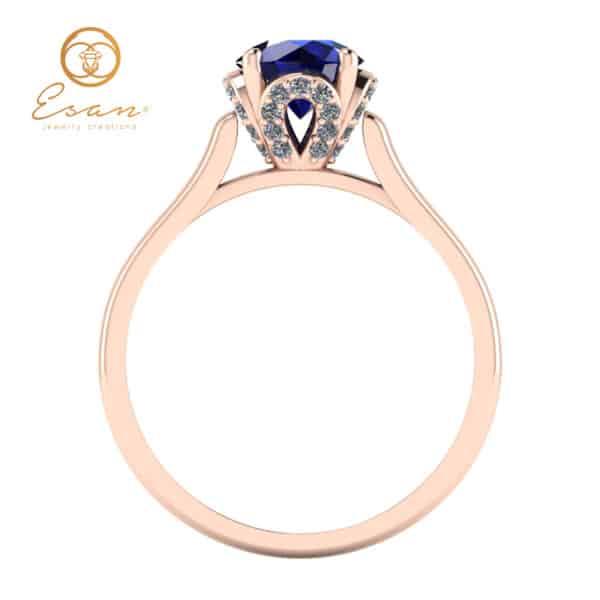 din aur roz cu safir si diamante ES152