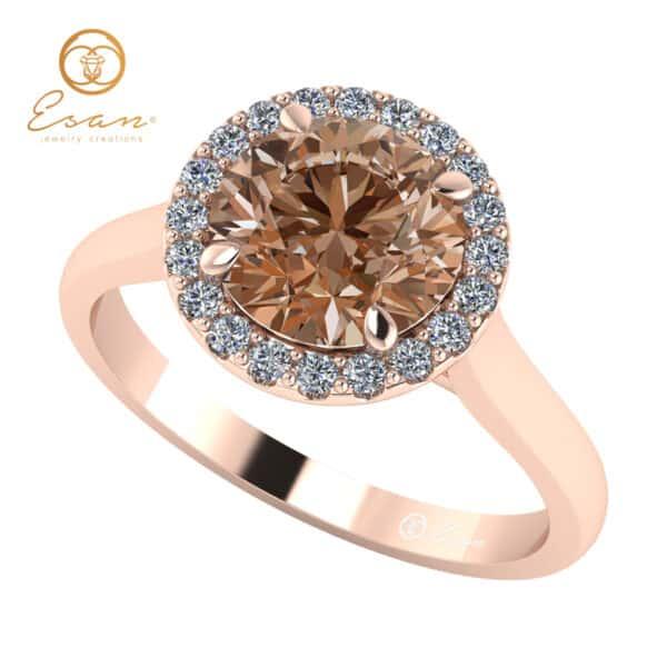 Inel de logodna cu diamant coniac si diamante ES151