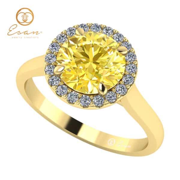 Inel de logodna cu diamant galben si diamante ES151