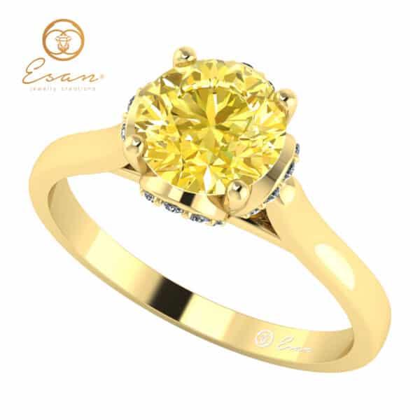 Inel de logodna cu diamant galben si diamante ES152