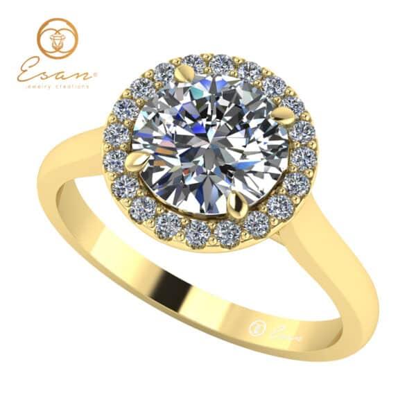 Inel de logodna din aur cu diamant rotund si diamante ES151