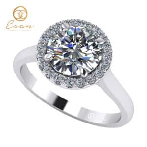 Inel de logodna din aur cu diamant si diamante ES151
