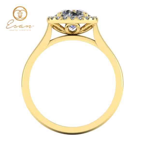 Inel de logodna din aur galben cu diamant si diamante ES151