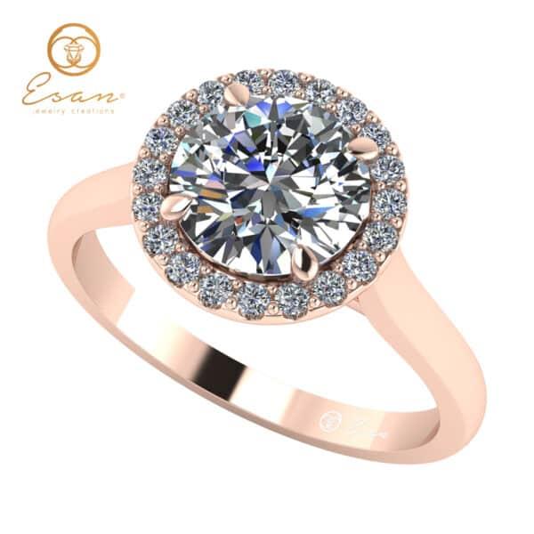 Inel de logodna din aur roz cu diamante ES151