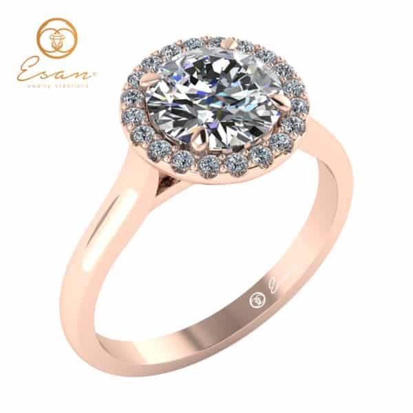 Inel de logodna din aur roz cu diamante rotunde ES152
