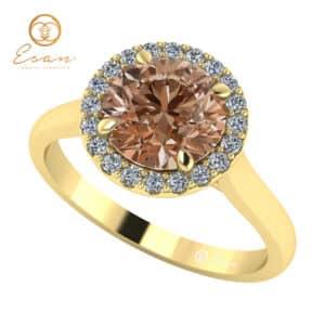 Inel din aur 14k cu diamant coniac si diamante ES151