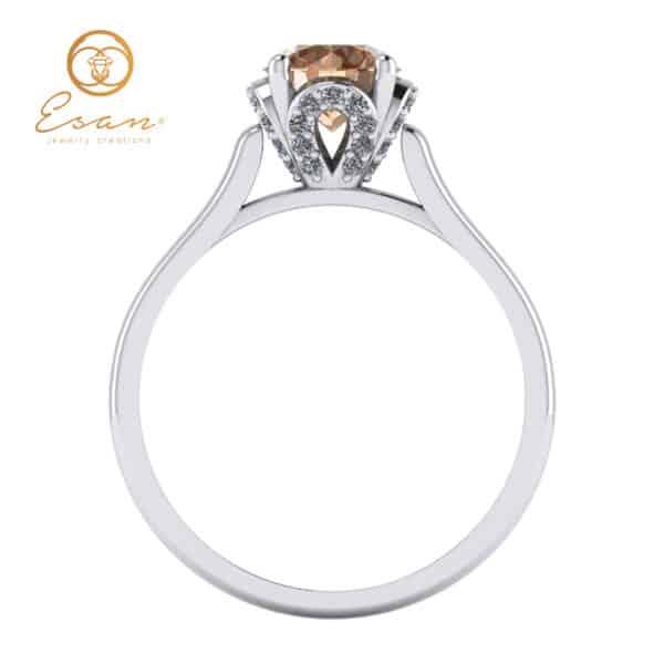 Inel din aur 18k cu diamant coniac si diamante es152