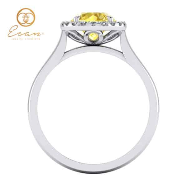 Inel din aur alb cu diamant galben si diamante ES151