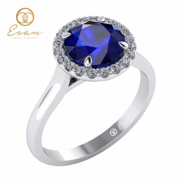 Inel din aur alb cu safir si diamante ES151