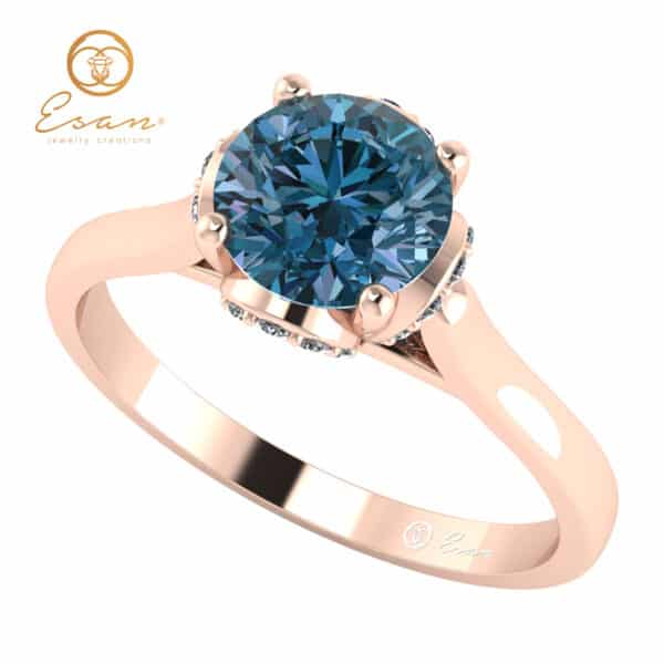 Inel din aur cu diamant albastru si diamante ES152