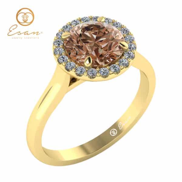 Inel din aur cu diamant coniac si diamante naturale-ES151