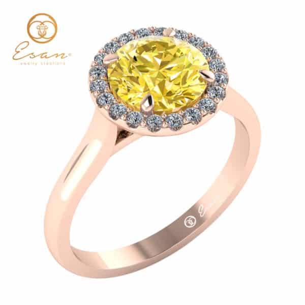 Inel din aur cu diamant galben si diamante ES151