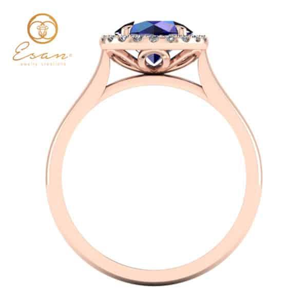 Inel din aur cu safir si diamante ES151
