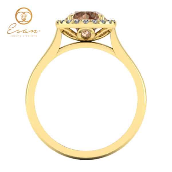 Inel din aur galben cu diamant coniac si diamante ES151