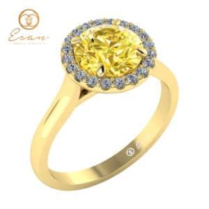 Inel din aur galben cu diamant galben si diamante ES151
