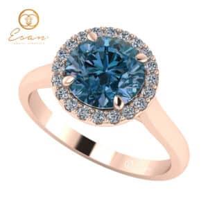Inel din aur roz 14k cu diamant albastru si diamante ES151