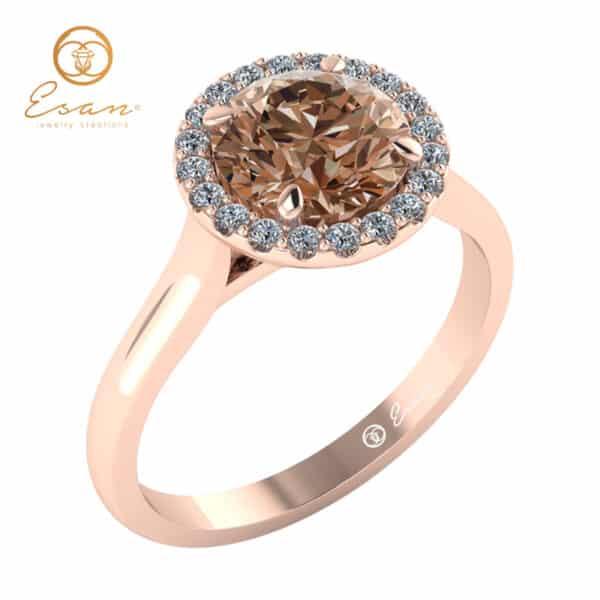 Inel din aur roz cu diamant coniac si diamante ES151