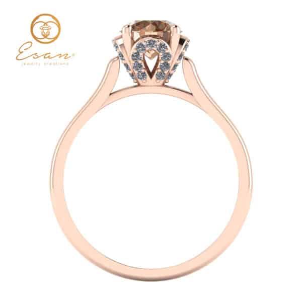Inel din aur cu diamant coniac si diamante ES152