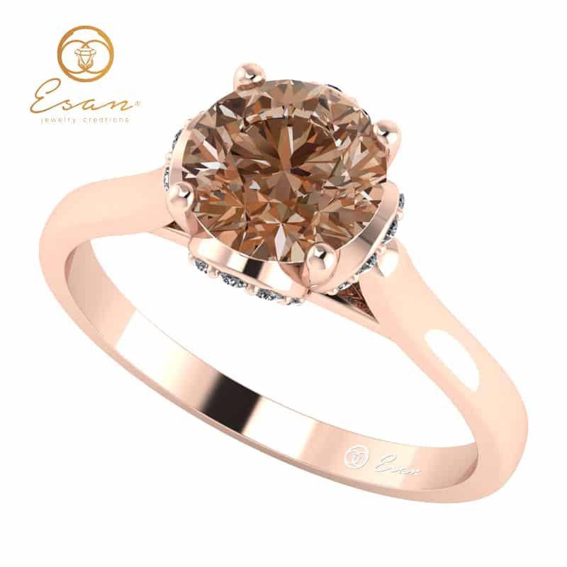 Inel Din Aur Roz Cu Diamant Coniac Si Diamante Es152