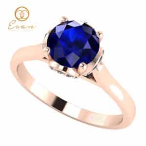 Inel din aur cu safir si diamante ES152