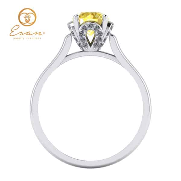 de logodna din aur cu diamant galben si diamante ES152
